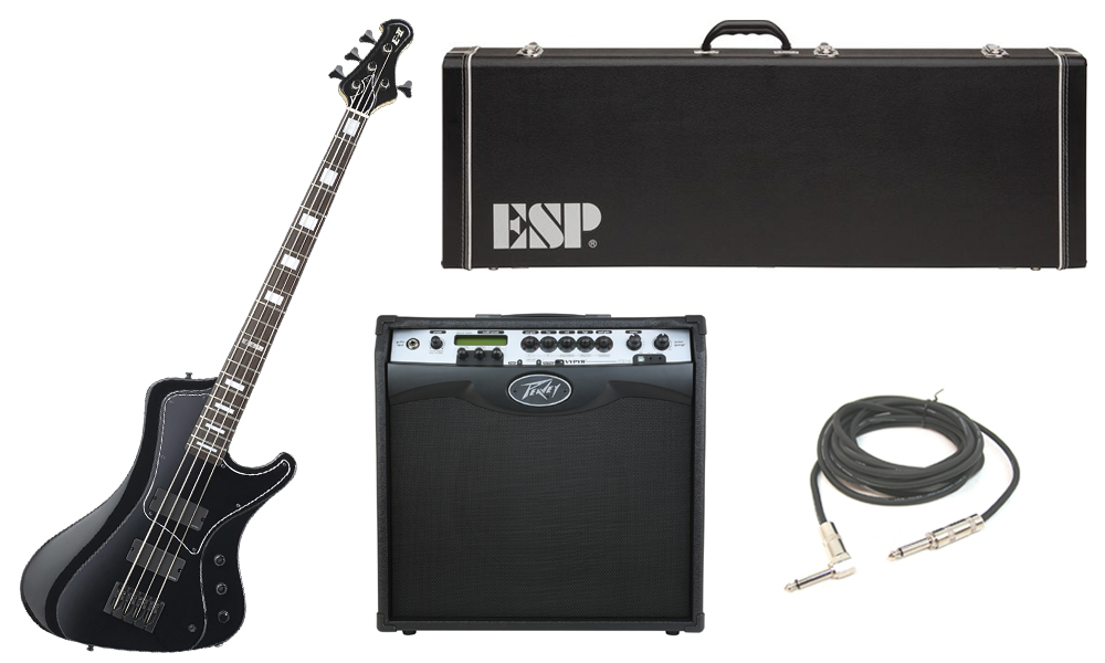 """ESP E-II Stream Series White Ash Body 4 String Rosewood Fingerboard Black Electric Bass Guitar with Peavey VIP 3 Modeling Amp & 1/4"""" Cable"""