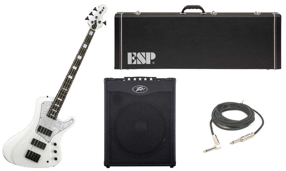 """ESP E-II Stream Series White Ash Body 4 String Rosewood Fingerboard White Electric Bass Guitar with Peavey MAX 115 Combo Amp & 1/4"""" Cable"""