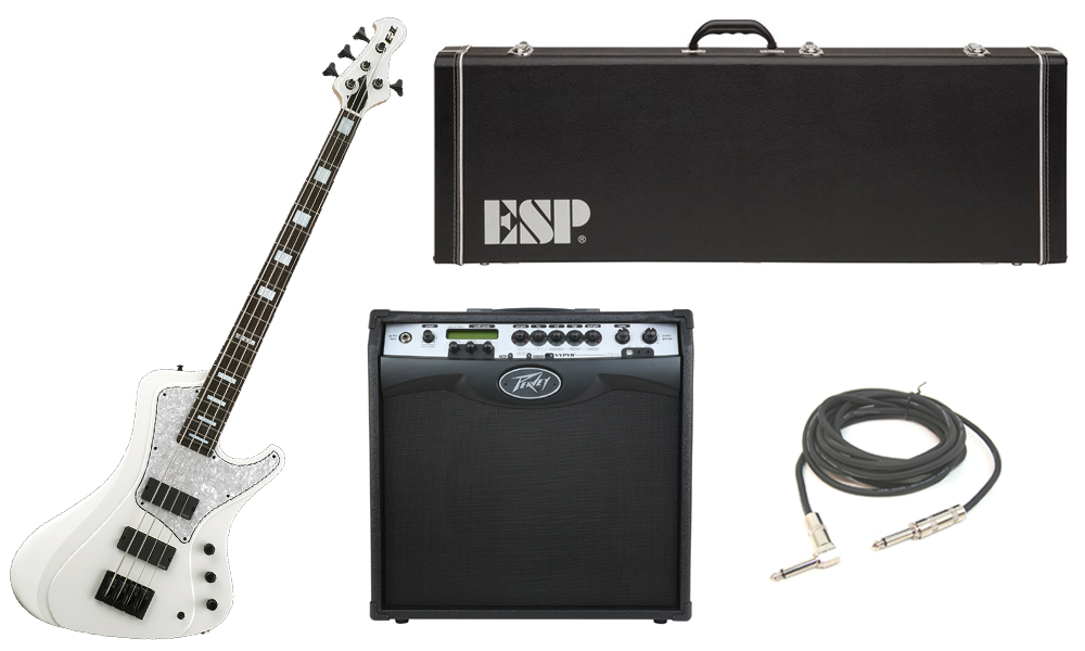 """ESP E-II Stream Series White Ash Body 4 String Rosewood Fingerboard White Electric Bass Guitar with Peavey VIP 3 Modeling Amp & 1/4"""" Cable"""