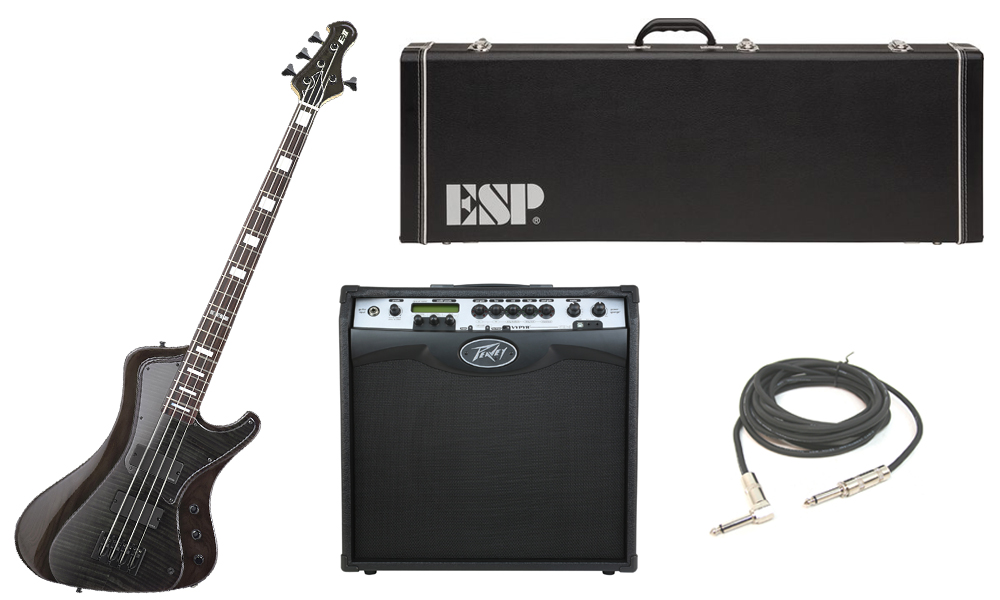 "ESP E-II Stream Series Flamed Maple Top 4 String Rosewood Fingerboard See Through Black Electric Bass Guitar with Peavey VIP 3 Modeling Amp & 1/4"" Cable"