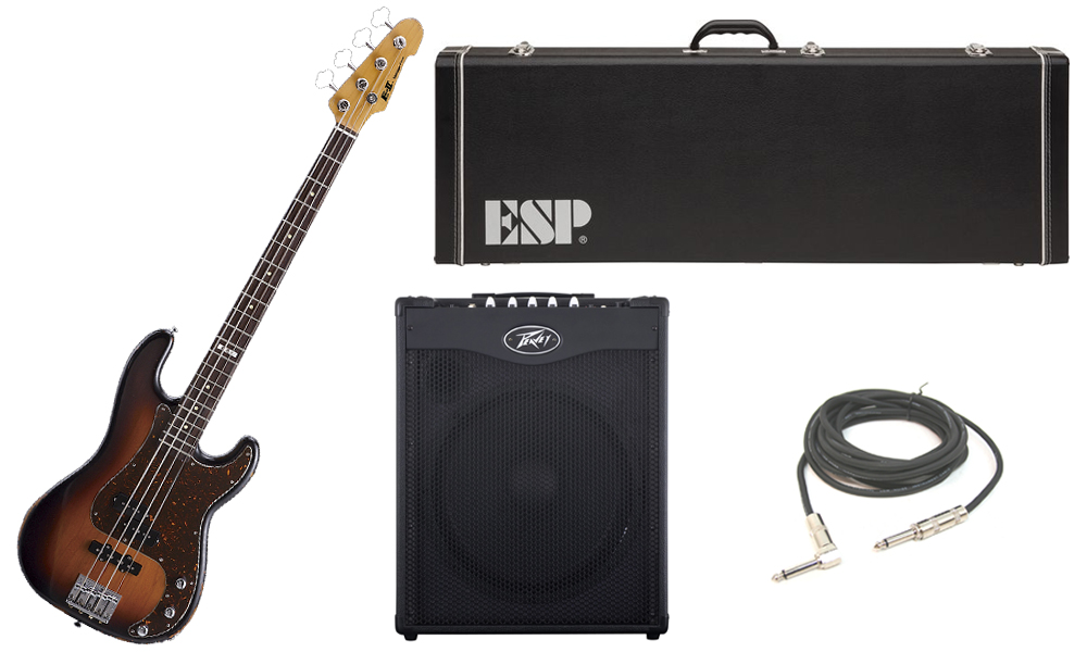 """ESP E-II Vintage Series Alder Body 4 String Rosewood Fingerboard 3 Tone Burst Electric Bass Guitar with Peavey MAX 115 Combo Amp & 1/4"""" Cable"""