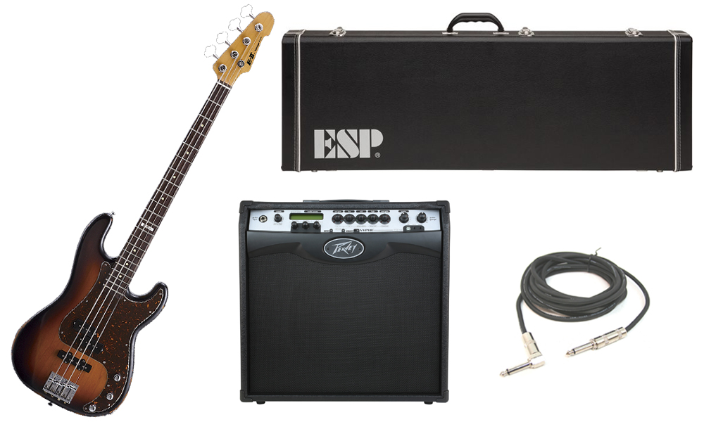 """ESP E-II Vintage Series Alder Body 4 String Rosewood Fingerboard 3 Tone Burst Electric Bass Guitar with Peavey VIP 3 Modeling Amp & 1/4"""" Cable"""
