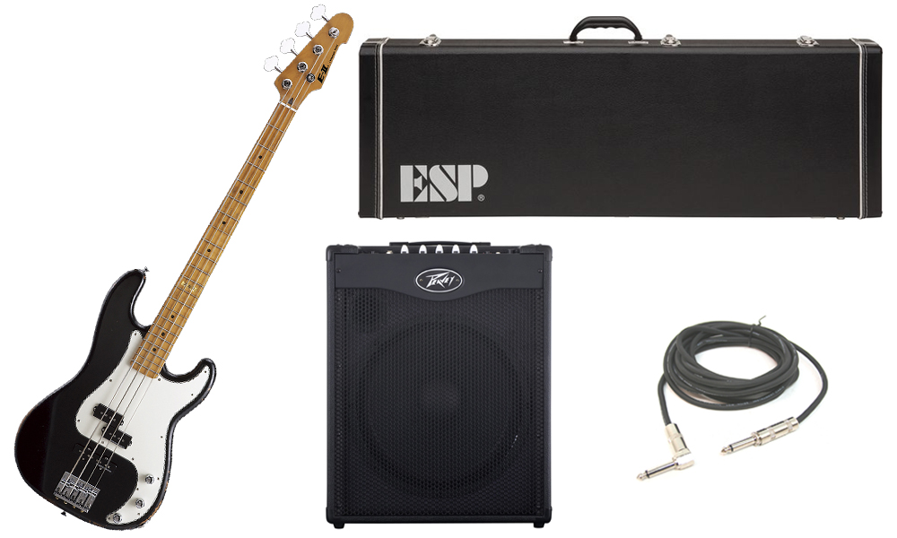 "ESP E-II Vintage Series Alder Body 4 String Maple Fingerboard Black Electric Bass Guitar with Peavey MAX 115 Combo Amp & 1/4"" Cable"