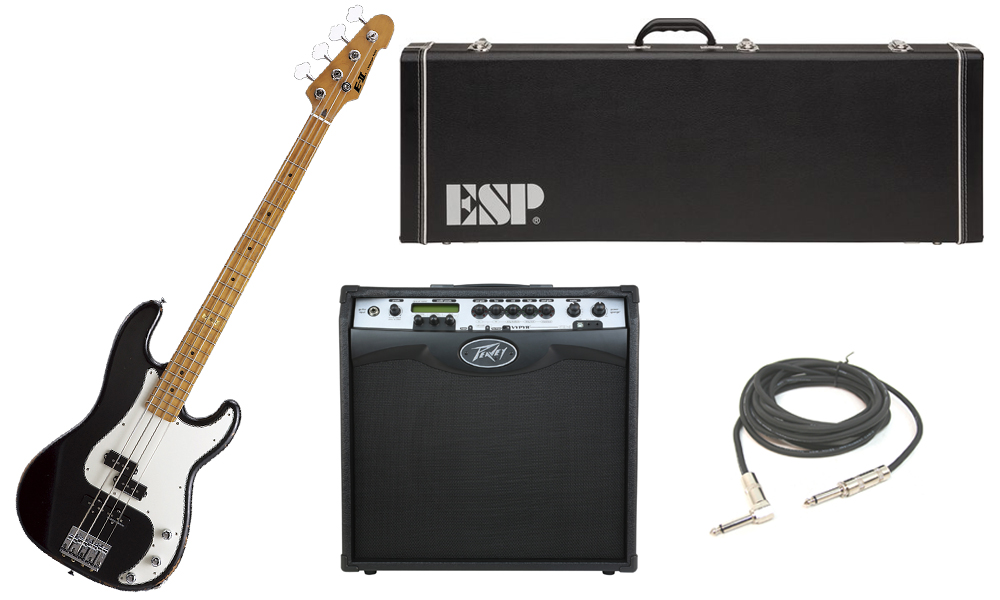 "ESP E-II Vintage Series Alder Body 4 String Maple Fingerboard Black Electric Bass Guitar with Peavey VIP 3 Modeling Amp & 1/4"" Cable"