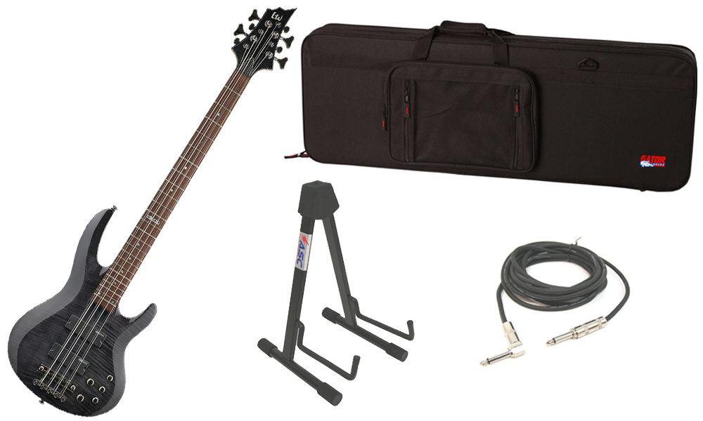 """ESP LTD B Series B-208 Flamed Maple Top 4 String Rosewood Fingerboard See Through Black Electric Bass Guitar with Travel Road Case, Stand & 1/4"""" Cable"""