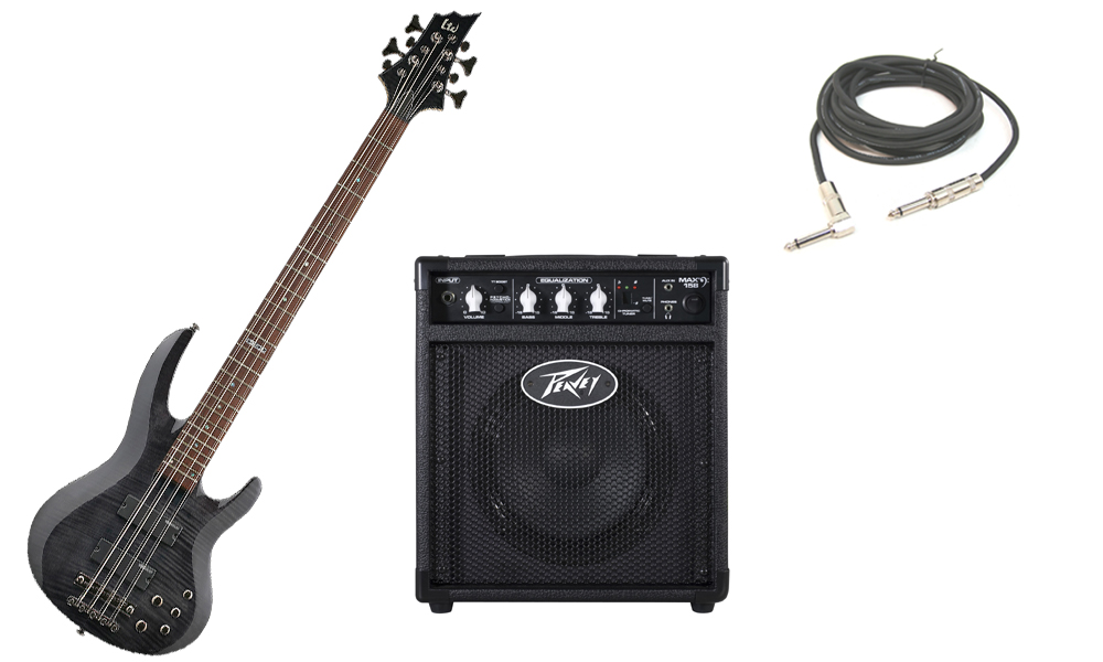 """ESP LTD B Series B-208 Flamed Maple Top 4 String Rosewood Fingerboard See Through Black Electric Bass Guitar with Peavey Max 158 Practice Amp & 1/4"""" Cable"""