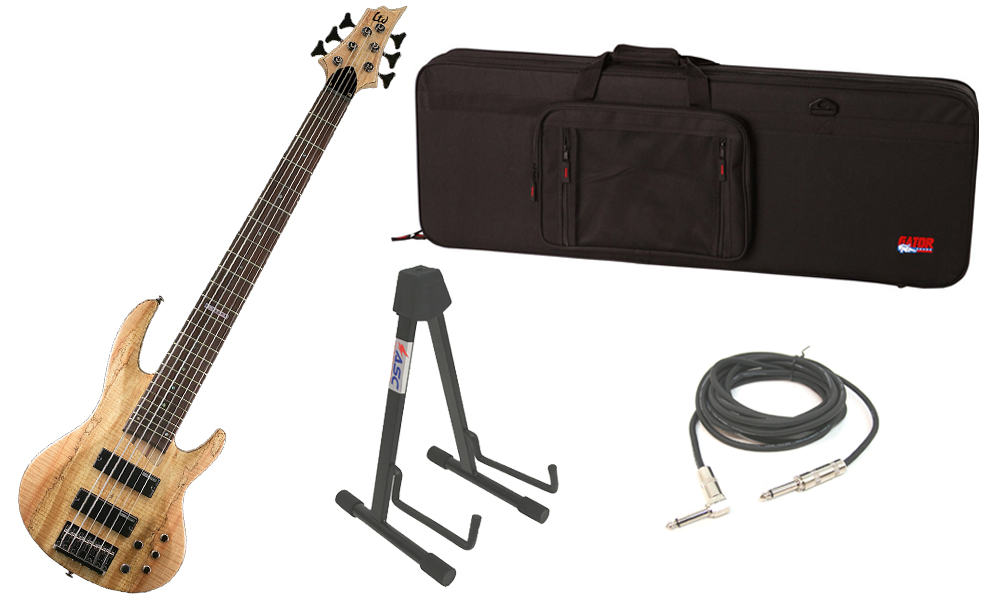 """ESP LTD B Series B-206SM Spalted Maple Top 6 String Rosewood Fingerboard Natural Satin Electric Bass Guitar with Travel Road Case, Stand & 1/4"""" Cable"""
