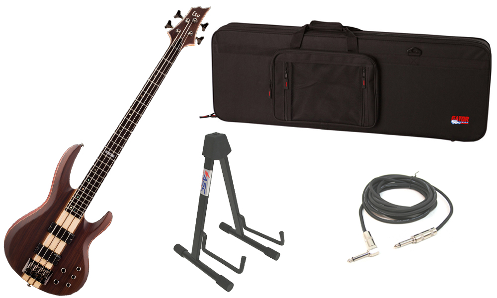 "ESP LTD B Series B-4E Mahogany Body 4 String Ebony Fingerboard Natural Satin Electric Bass Guitar with Travel Road Case, Stand & 1/4"" Cable"