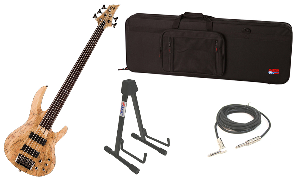 """ESP LTD B Series B-205SM Spalted Maple Top 5 String Fretless Rosewood Fingerboard Natural Satin Electric Bass Guitar with Travel Road Case, Stand & 1/4"""" Cable"""