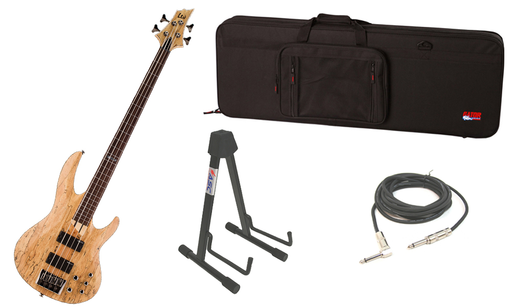 "ESP LTD B Series B-204SM Spalted Maple Top 4 String Fretless Rosewood Fingerboard Natural Satin Electric Bass Guitar with Travel Road Case, Stand & 1/4"" Cable"