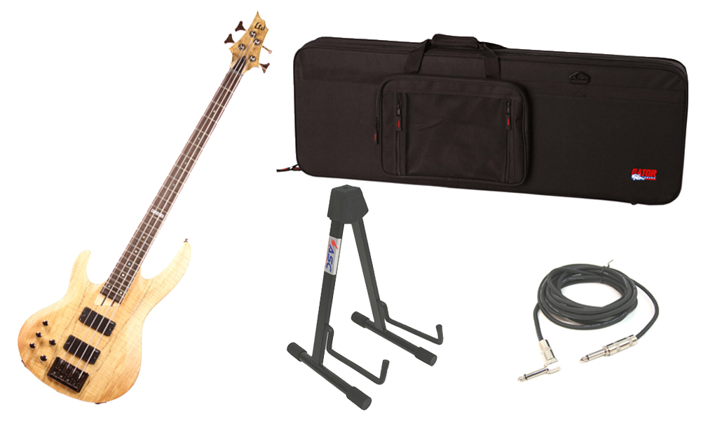 """ESP LTD B Series B-204SM Spalted Maple Top 4 String Rosewood Fingerboard Natural Satin Electric Bass Guitar (Left Hand) with Travel Road Case, Stand & 1/4"""" Cable"""
