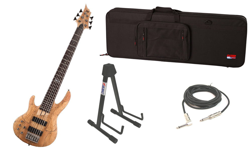 "ESP LTD B Series B-206SM Spalted Maple Top 6 String Rosewood Fingerboard Natural Satin Electric Bass Guitar (Left Hand) with Travel Road Case, Stand & 1/4"" Cable"