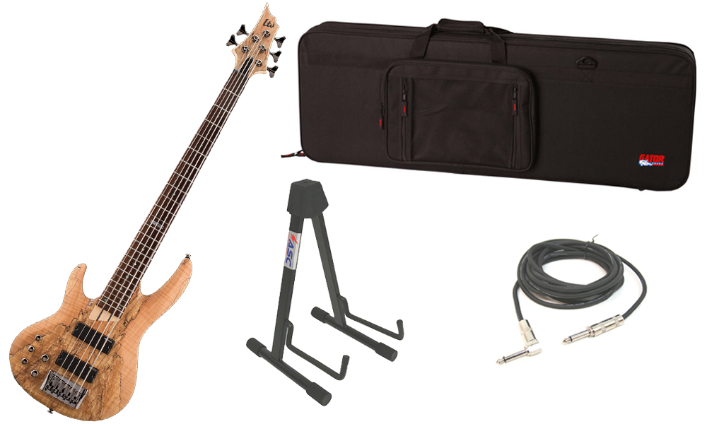 """ESP LTD B Series B-205SM Spalted Maple Top 5 String Rosewood Fingerboard Natural Satin Electric Bass Guitar (Left Hand) with Travel Road Case, Stand & 1/4"""" Cable"""