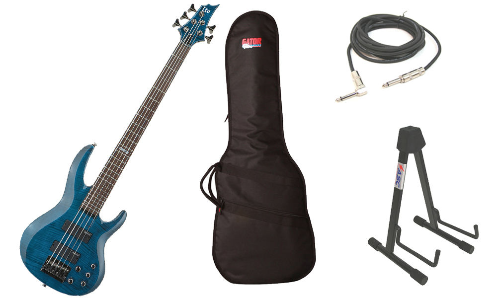 "ESP LTD B Series B-155DX Flamed Maple Top 5 String Rosewood Fingerboard See Through Blue Electric Bass Guitar with Travel Gig Bag, Stand & 1/4"" Cable"