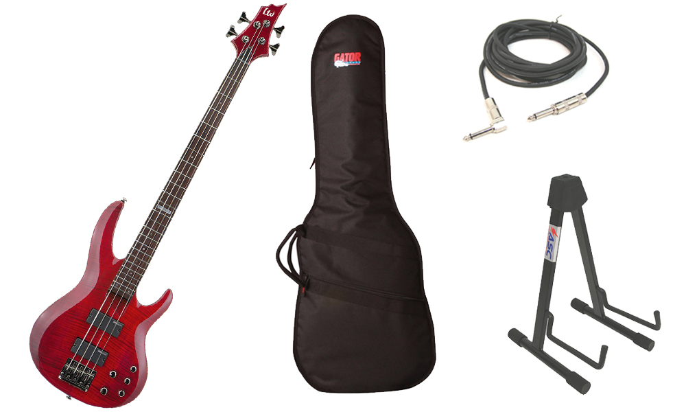 """ESP LTD B Series B-154DX Flamed Maple Top 4 String Rosewood Fingerboard See Through Red Electric Bass Guitar with Travel Gig Bag, Stand & 1/4"""" Cable"""