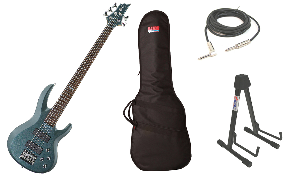 """ESP LTD B Series B-105 Basswood Body 5 String Rosewood Fingerboard Gunsmoke Blue Electric Bass Guitar with Travel Gig Bag, Stand & 1/4"""" Cable"""