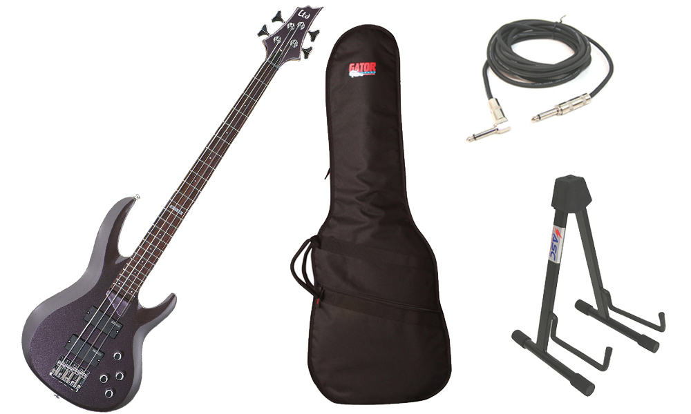 """ESP LTD B Series B-104 Basswood Body 4 String Rosewood Fingerboard Metallic Purple Electric Bass Guitar with Travel Gig Bag, Stand & 1/4"""" Cable"""