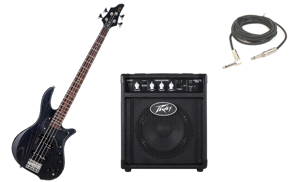 """ESP LTD BB Series BB-4 Alder & Swamp Ash Body 4 String Rosewood Fingerboard Satin Black Electric Bass Guitar with Peavey Max 158 Practice Amp & 1/4"""" Cable"""