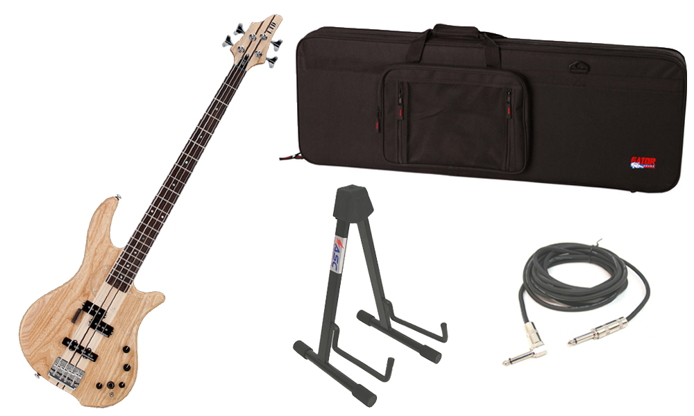 "ESP LTD BB Series BB-4 Alder & Swamp Ash Body 4 String Rosewood Fingerboard Satin Natural Electric Bass Guitar with Travel Road Case, Stand & 1/4"" Cable"