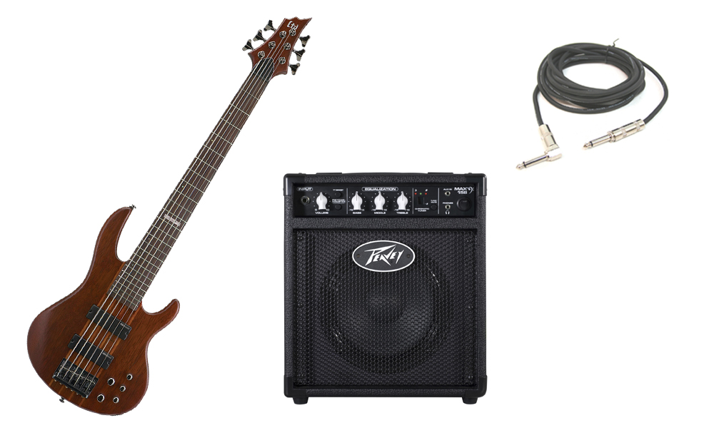 """ESP LTD D Series D-6 Merbau Body 6 String Rosewood Fingerboard Natural Satin Electric Bass Guitar with Peavey Max 158 Practice Amp & 1/4"""" Cable"""