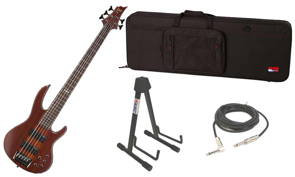 """ESP LTD D Series D-5 Merbau Body 5 String Rosewood Fingerboard Natural Satin Electric Bass Guitar with Travel Road Case, Stand & 1/4"""" Cable"""