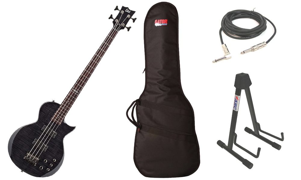 "ESP LTD EC Series EC-154DX Flamed Maple Top 4 String Rosewood Fingerboard See Through Black Electric Bass Guitar with Travel Gig Bag, Stand & 1/4"" Cable"