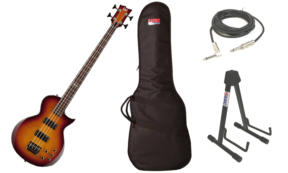"""ESP LTD EC Series EC-154DX Flamed Maple Top 4 String Rosewood Fingerboard Tobacco Sunburst Electric Bass Guitar with Travel Gig Bag, Stand & 1/4"""" Cable"""