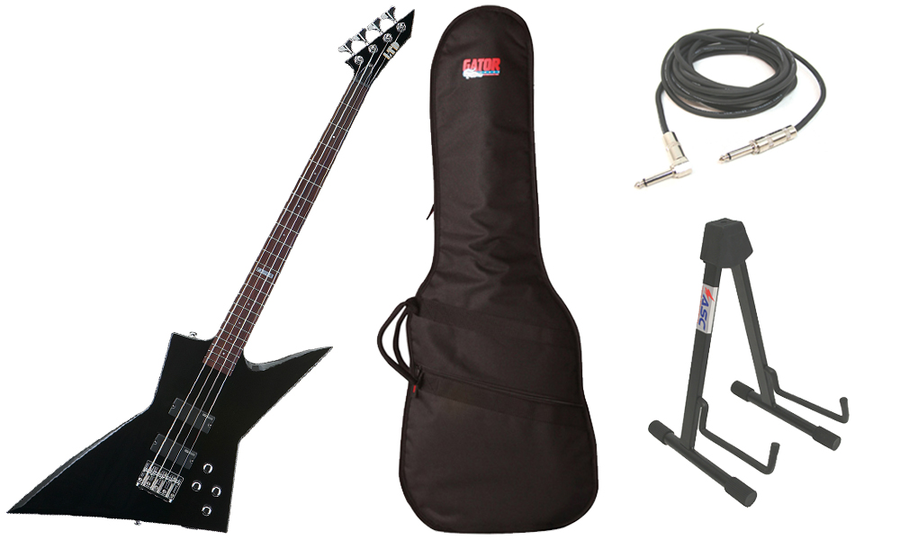 """ESP LTD EX Series EX-104 Basswood Body 4 String Rosewood Fingerboard Black Electric Bass Guitar with Travel Gig Bag, Stand & 1/4"""" Cable"""