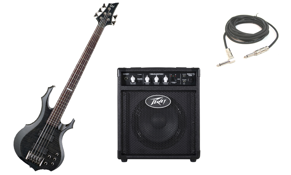 """ESP LTD F Series F-415 Flamed Maple Top 5 String Rosewood Fingerboard See Through Black Electric Bass Guitar with Peavey Max 158 Practice Amp & 1/4"""" Cable"""