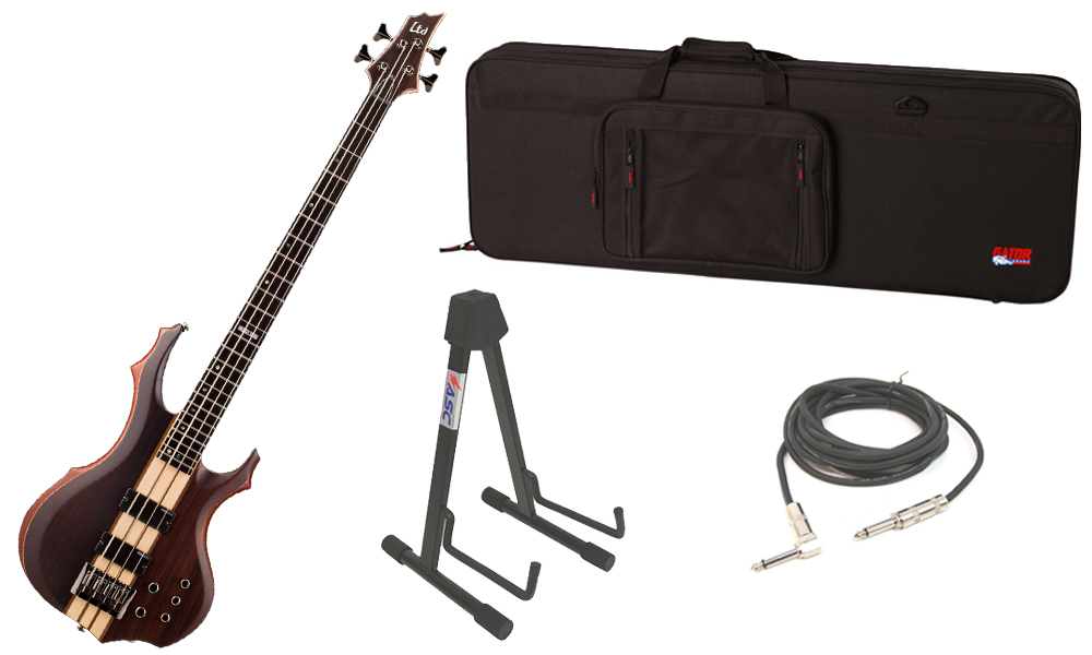 """ESP LTD F Series F-4E Mahogany Body 4 String Ebony Fingerboard Natural Satin Electric Bass Guitar with Travel Road Case, Stand & 1/4"""" Cable"""