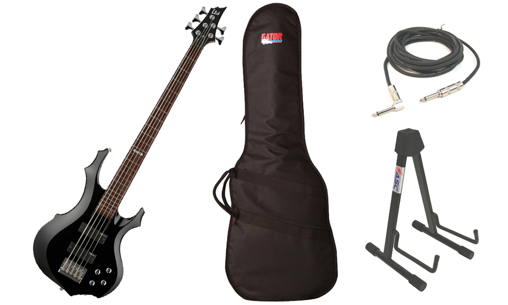 "ESP LTD F Series F-105 Basswood Body 5 String Rosewood Fingerboard Black Electric Bass Guitar with Travel Gig Bag, Stand & 1/4"" Cable"