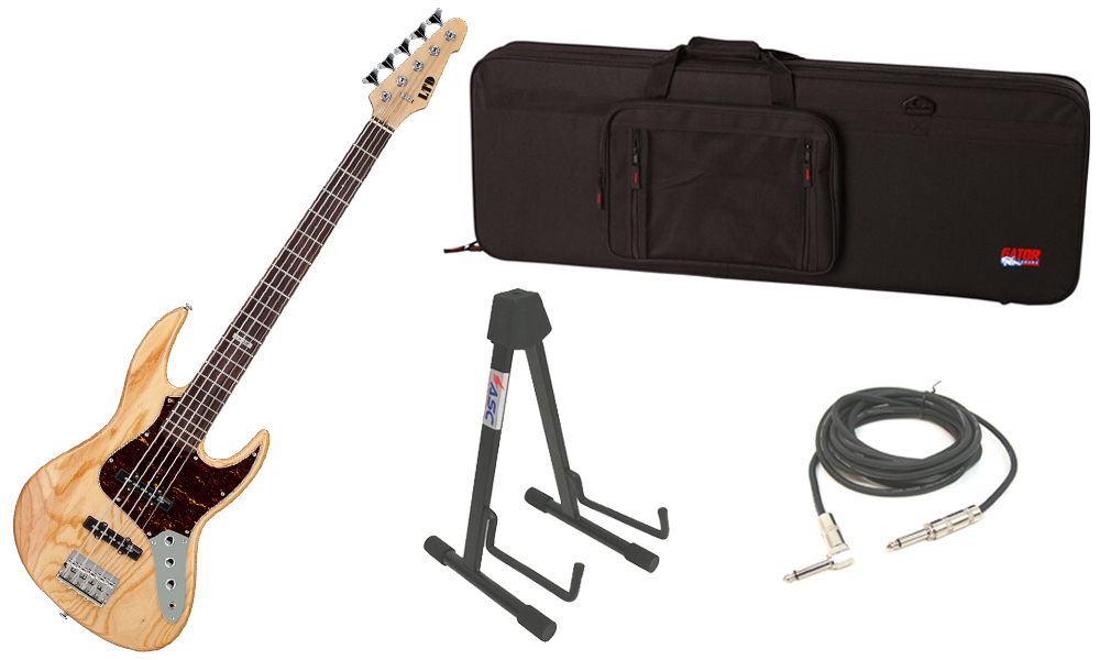 """ESP LTD J Series J-205 Swamp Ash Body 5 String Rosewood Fingerboard Natural Gloss Electric Bass Guitar with Travel Road Case, Stand & 1/4"""" Cable"""