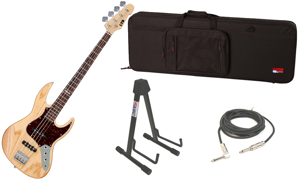 """ESP LTD J Series J-204 Swamp Ash Body 4 String Rosewood Fingerboard Natural Gloss Electric Bass Guitar with Travel Road Case, Stand & 1/4"""" Cable"""
