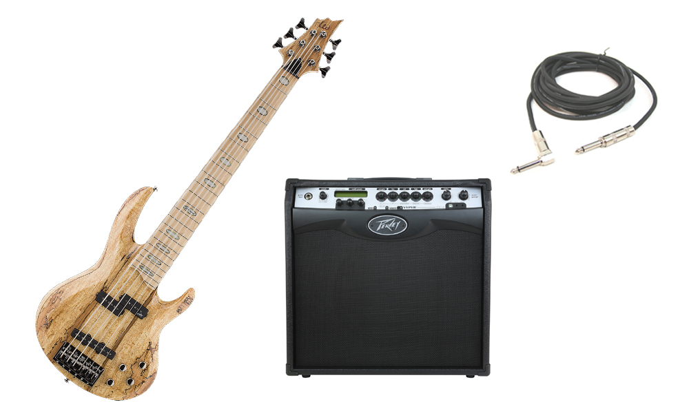 """ESP LTD RB Series RB-1006SM Solid Spalted Maple Top 6 String Maple Fingerboard Natural Electric Bass Guitar with Peavey VIP 3 Modeling Amp & 1/4"""" Cable"""