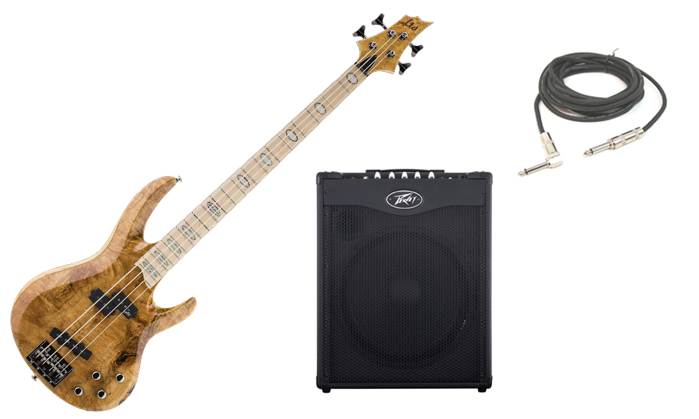 """ESP LTD RB Series RB-1004BM Solid Burled Maple Top 4 String Maple Fingerboard Honey Natural Electric Bass Guitar with Peavey MAX 115 Combo Amp & 1/4"""" Cable"""