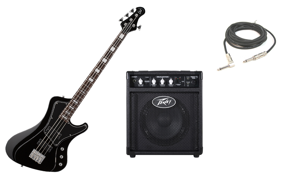 """ESP LTD Stream Series 204 Mahogany Body 4 String Rosewood Fingerboard Black Electric Bass Guitar with Peavey Max 158 Practice Amp & 1/4"""" Cable"""