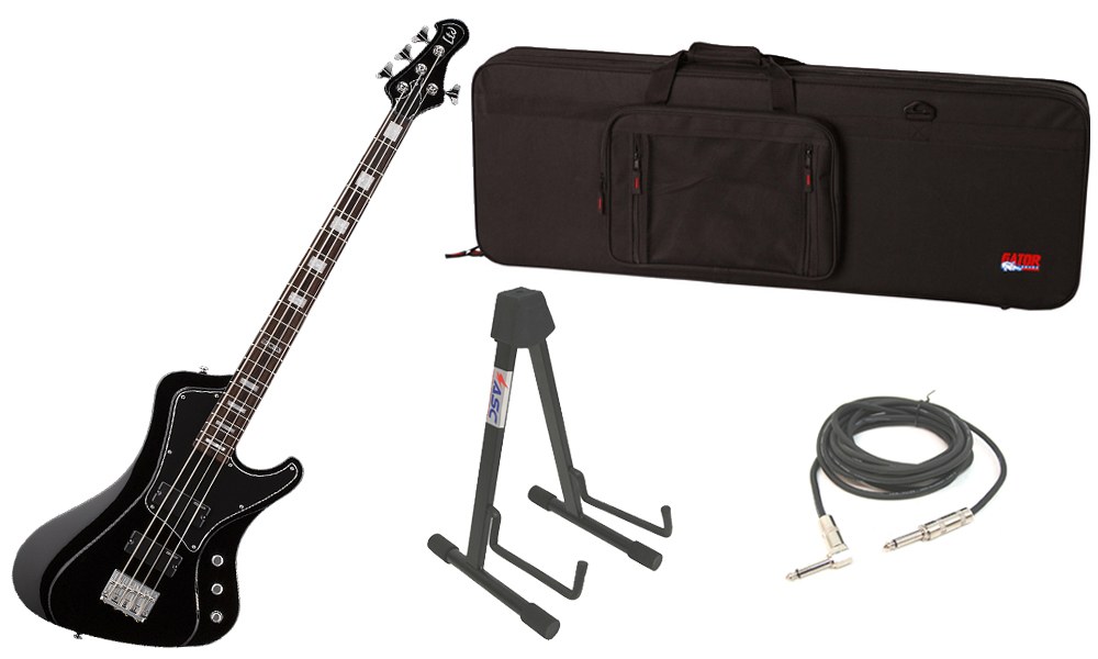 """ESP LTD Stream Series 204 Mahogany Body 4 String Rosewood Fingerboard Black Electric Bass Guitar with Travel Road Case, Stand & 1/4"""" Cable"""