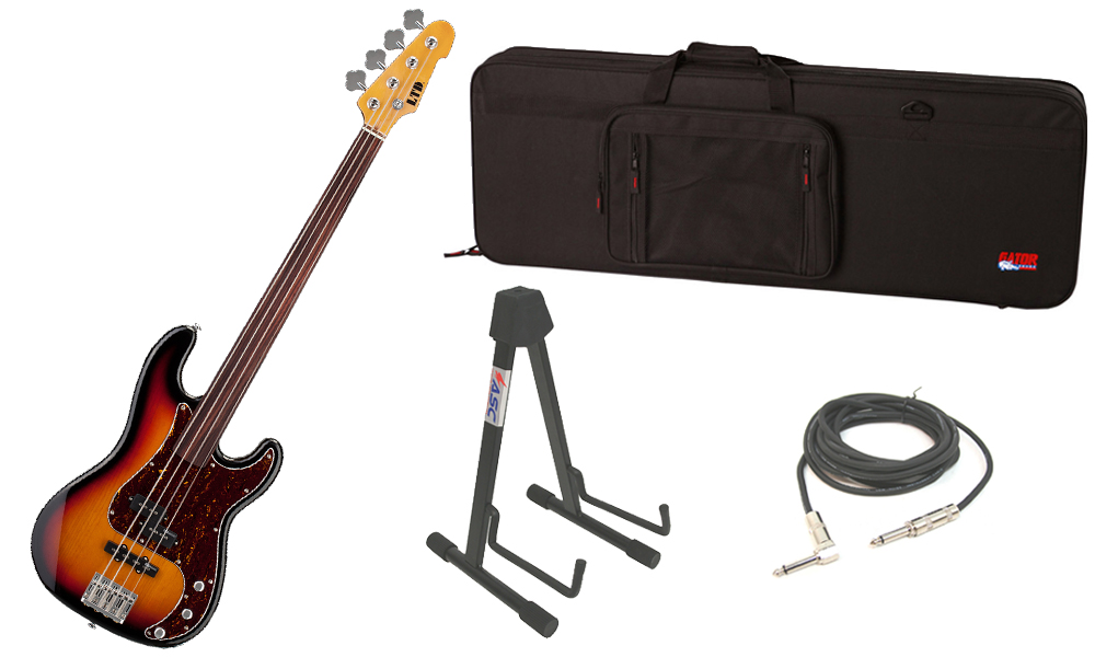 "ESP LTD Vintage Series 214 Alder Body 4 String Fretless Rosewood Fingerboard 3 Tone Burst Electric Bass Guitar with Travel Road Case, Stand & 1/4"" Cable"