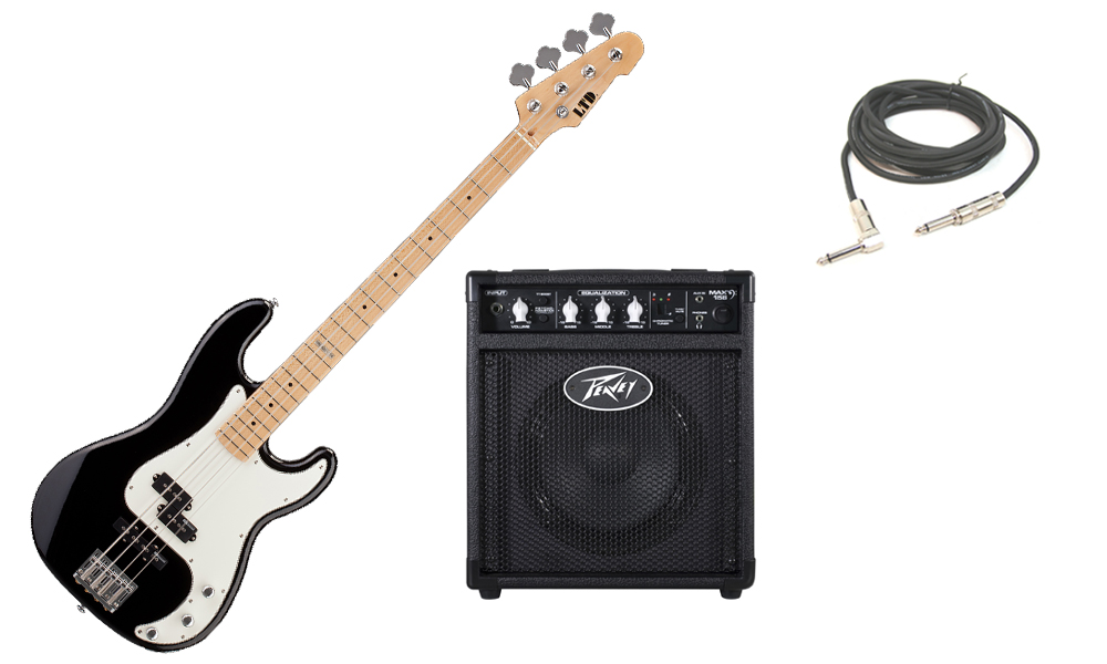 """ESP LTD Vintage Series 214 Alder Body 4 String Maple Fingerboard Black Electric Bass Guitar with Peavey Max 158 Practice Amp & 1/4"""" Cable"""
