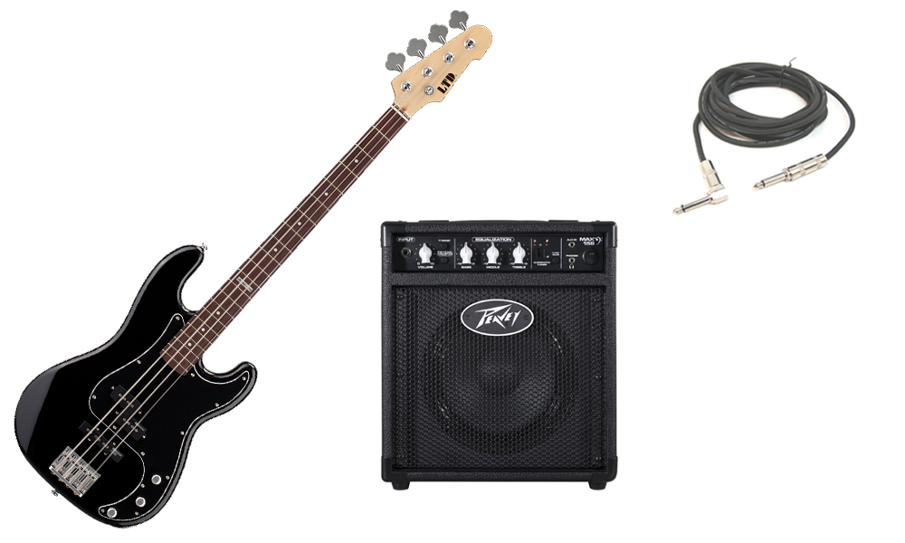 """ESP LTD Vintage Series 214 Alder Body 4 String Rosewood Fingerboard Black Electric Bass Guitar with Peavey Max 158 Practice Amp & 1/4"""" Cable"""