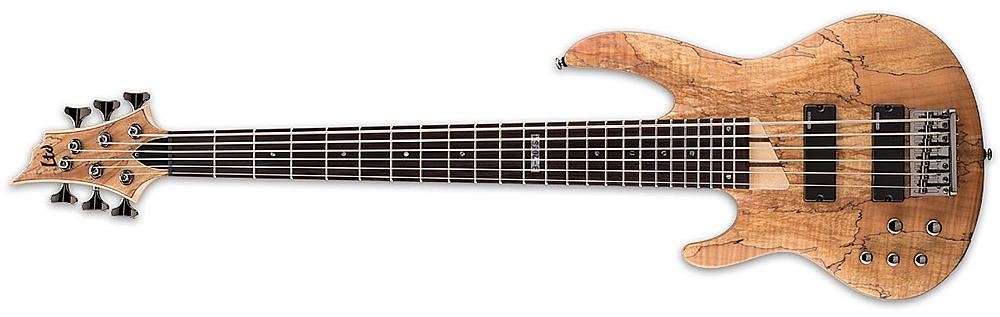 ESP LTD B-206 SM NS LH B Series Left Handed Electric Bass Guitar With Spalted Maple Top Natural Satin Finish
