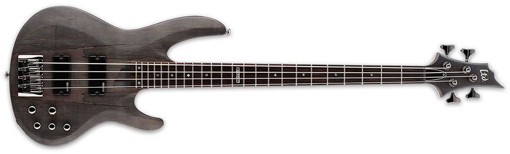 ESP LTD B-204 SM STMSS 4-String Spalted Maple Top Electric Bass Guitar - See Thru Black Satin Finish (LB204SMSTMSS)
