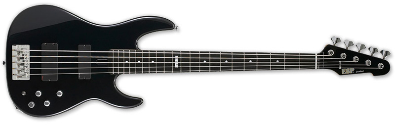 ESP Surveyor-5 Ebony Standard Series Bass Guitar -Black Finish Ash w/ Maple Neck (ESURVEYOR5BLK)