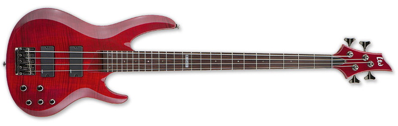 ESP LTD B-154DX B Series Bass Guitar - See Thru Red Finish Basswood w/ Flamed Maple Top (LB154DXSTR)