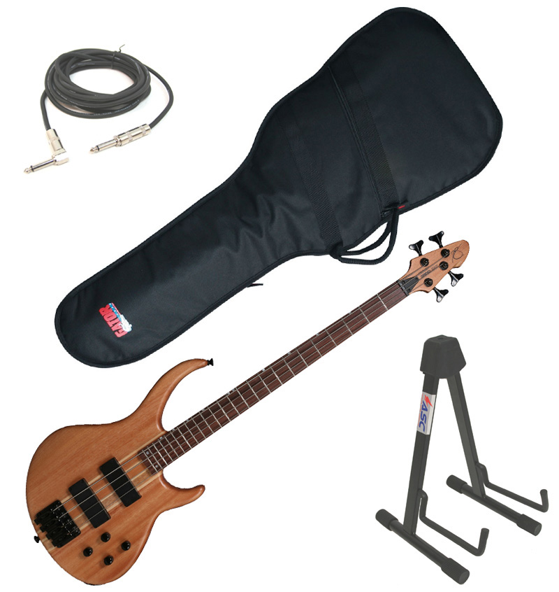 """Peavey Grind Electric Bass 4 String Guitar Natural Finish w/ Stand, Gig Bag & 1/4"""" Jack Cable"""