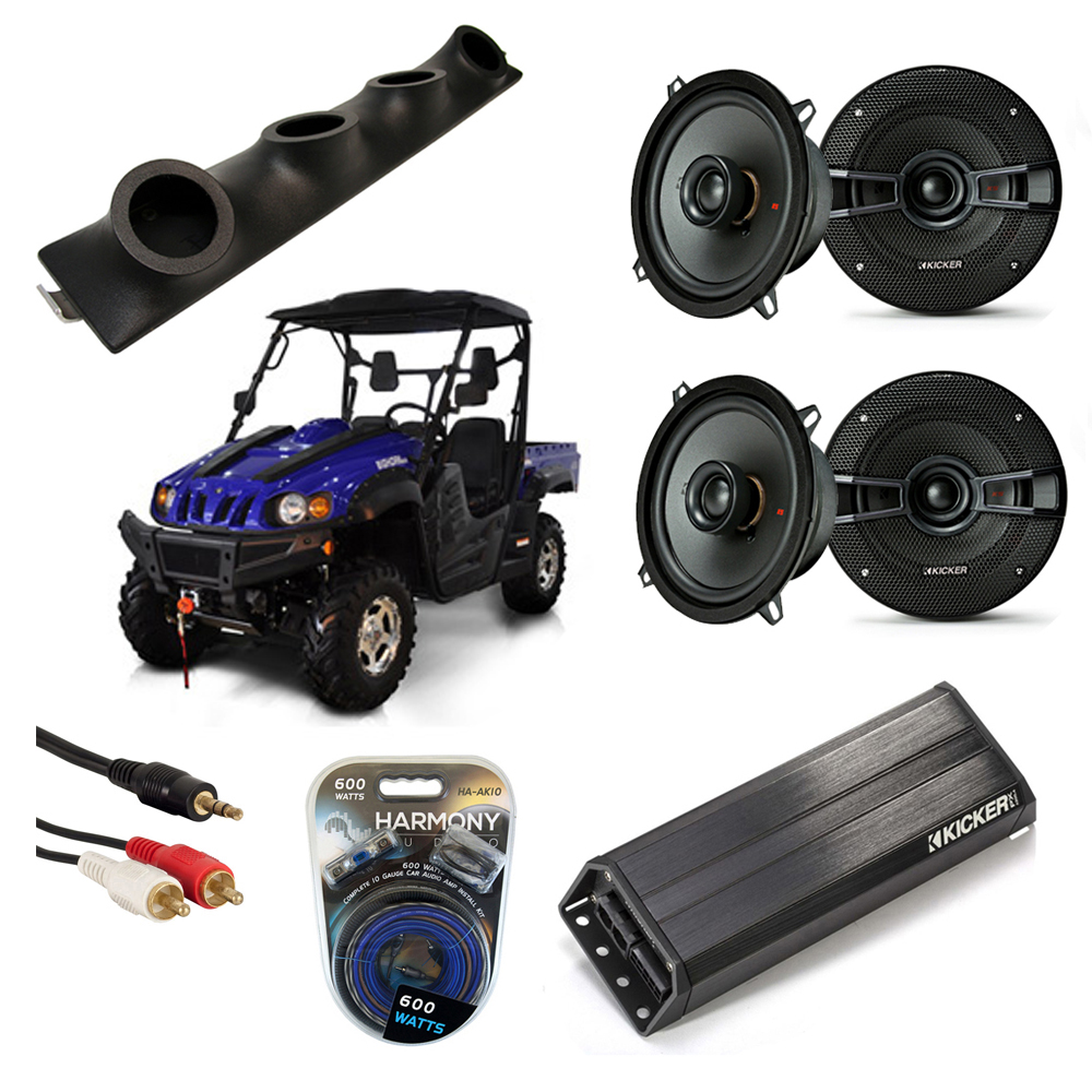 "Bennche Bighorn Powered Kicker KSC50 & PXA300.4 Amp Quad (4) 5 1/4"" Speaker UTV Pod System"