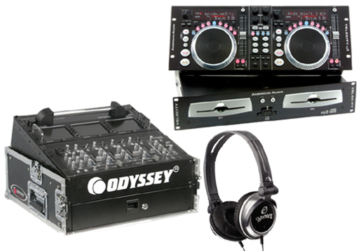 DJ Package American Audio VELOCITY MP3 Pro Scratch Dual MP3 CD Player with Monitor Headphones & Odyssey FR1002 Flight Case