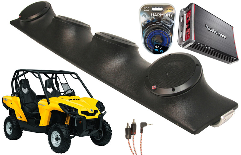 "Can-Am Commander Rockford R152 & PBR300X4 Amp Quad (4) 5 1/4"" Speakers UTV Pod System"