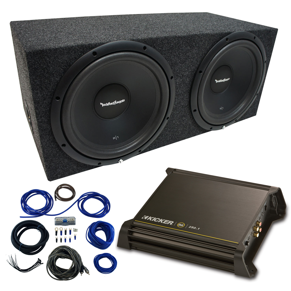 "Dual 10"" Rockford Fosgate Prime Sub Package with Kicker 11DX250.1 Refurbished Amp  & Sealed Enclosure"