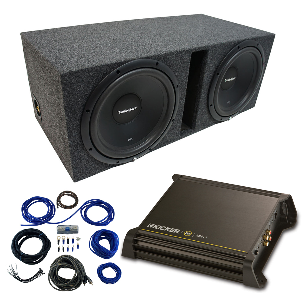 "Dual 12"" Rockford Fosgate Prime Sub Package with Kicker 11DX250.1 Refurbished Amp & Vented Enclosure"